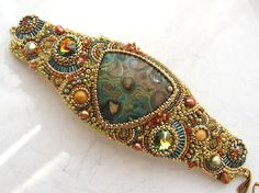 Bead Embroidered Bracelet by Red Tulip Design