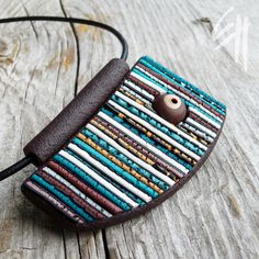 https://flic.kr/p/ae2yGJ | Striped Structure Pendant | Polymer clay jewellery - pendant