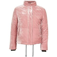 Topshop Velvet Puffer Jacket (215 ILS) ❤ liked on Polyvore featuring outerwear, jackets, red jacket, puffer jacket, velvet jacket, zip up jackets and puffy jacket
