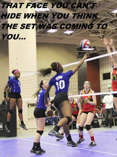 volleyball memethat face you can't hide when you think the set was coming to you by jackie pressley - who now qualifies for the grand prize! Volleyball Jokes, Volleyball Problems, Usa Volleyball, Volleyball Drills, Volleyball Gifts, Coaching Volleyball, Volleyball Setter, Volleyball Training, Volleyball Practice