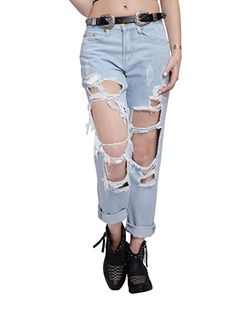 Ripped Washed Denim Jeans