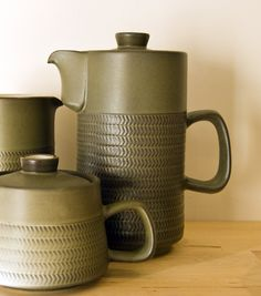 Retro Pottery Net: Denby Pottery (Part Chevron, Designed by Gill Denby Pottery, Hornsea Pottery, Ceramic Pottery, Vintage Crockery, Vintage Ceramic, Ceramic Tableware, Kitchenware, Shaker Furniture, English Pottery