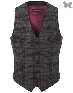 Holland Esquire Double Windowpane Classic 5 Button Waist Coat - Grey - Men's Tweed / Wool Jackets - Men's Jackets and Coats - Men | Country Attire