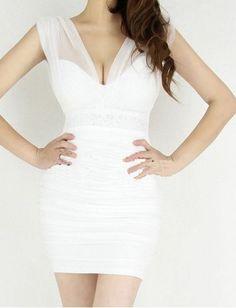 5cb0702b3b6d New Styles Mesh White Sexy Style V-neck Sheath Sleeveless Mini Party Dresses  Sequin Dress