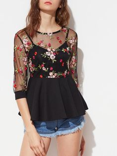 Shop Flower Embroidered Mesh Overlay 2 In 1 Peplum Top online. SheIn offers Flower Embroidered Mesh Overlay 2 In 1 Peplum Top & more to fit your fashionable needs. Classy Outfits, Cute Outfits, Fancy Tops, Sexy Blouse, Moda Plus Size, Elegant Outfit, Ladies Dress Design, Blouses For Women, Floral Tops