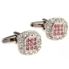 Round Pink and White Crystal Cufflinks