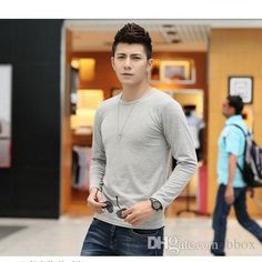 Wholesale Crew Neck - Buy Autumn Long Sleeve Clothing Long Sleeve Casual Shirts Crew Neck Men's Clothing Cotton Mens Shirts BBox, $9.47 | DHgate