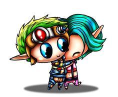 Jak 4 | Jak and Keira Chibi's - Hugging by SaraSaeed95