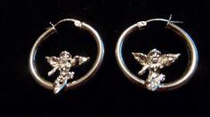 Vintage stearling silver sitting cherubs angels hoop earrings jewelry