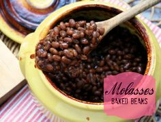 These molasses baked beans have a bit of a bite from the black pepper (that's th. These molasses baked beans have a bit of a bite from the black pepper (that's the sass) that bala Baked Beans Recipe With Molasses, Molasses Recipes, Pressure Cooker Beans, Slow Cooker Recipes, Cooking Recipes, Homemade Beans, Baked Bean Recipes, Salt Pork, Dried Beans