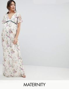 30ff51fa94 Hope   Ivy Maternity Printed Fluted Sleeve Maxi Dress With Velvet Trim