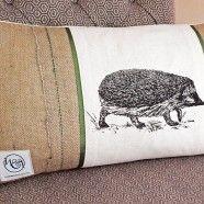 Hessian side of Rectangle Hedgehog Cushion