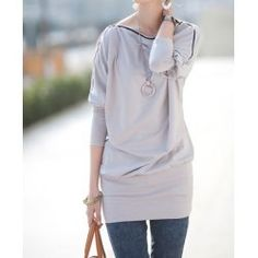 Zipper Embellished Batwing Sleeve Boat Neck Pullover T-Shirt For Women