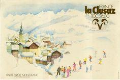 La Clusaz France 1100 2600 - Affiche originale par Guy Ameyë (ca 1980)