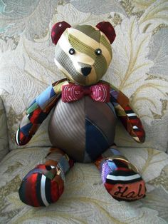 Memory Teddy Bear quilted with vintage ties/bowtie and embroidered bowling shirt name (dyed). Ties 2017 Ties Knots Ties Wedding Ties And Shirts Ties 2018 Mens Ties Crafts, Tie Crafts, Fabric Crafts, Sewing Crafts, Sewing Projects, Sewing Tips, Necktie Quilt, Old Ties, Memory Crafts
