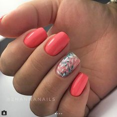 "If you're unfamiliar with nail trends and you hear the words ""coffin nails,"" what comes to mind? It's not nails with coffins drawn on them. It's long nails with a square tip, and the look has. Trendy Nails, Cute Nails, Hair And Nails, My Nails, Coral Gel Nails, Coral Nail Art, Nail Polish, Nail Nail, Top Nail"