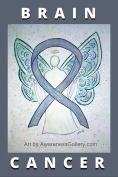 Go Gray in May for Brain Cancer Awareness Month!  Brain Cancer uses a gray awareness ribbon for its cause. Art is watercolor of a gray awareness angel by AwarenessGallery.com.