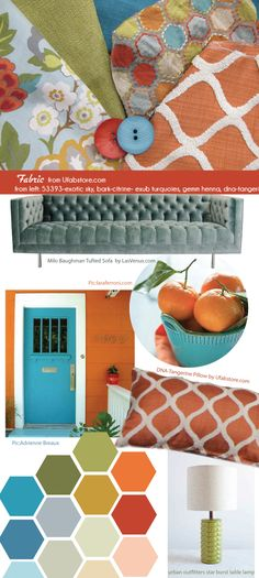 Turquoise and tangerine temptation. Orange, Blue, Lime Green and red fabric and accents make this vibrant retro feeling come to life! Orange Color Palettes, Green Color Schemes, Blue Colour Palette, Bedroom Color Schemes, Color Combinations, Basement Inspiration, Color Inspiration, Navy Living Rooms, Farm House Colors