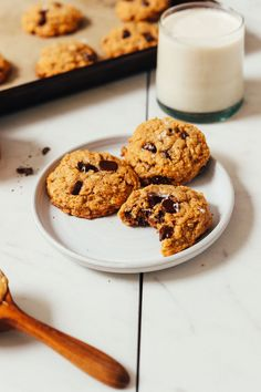 Healthier Peanut Butter Chocolate Chip Cookies made without butter or oil. Perfectly chewy, salty-sweet, and studded with chocolate chips!