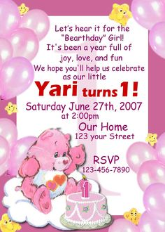 Care Bears 12 Pack 3D Birthday Invitations