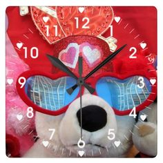 Valentine Heart With Love Bear Wall Clock  #stanrail - $30.95 - A Valentine Heart Bear with Cool Sun Glasses on A Large Square wall clock. The numbers each have a small heart next to them.Made for any wall, this clock is vibrantly printed with AcryliPrint®HD process to ensure the highest quality display of any content #Vintage #ValentinesDay #Bear #Hearts #Clock  #stanrails_store