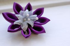 Kanzashi - purple and white