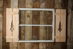 Pine Tree Exterior Shutter made of Pine or Red Cedar Wood perfect for your Cabin, cottage, or beach house. These distinctive Shutters are made to order in the US by a Veteran with the pattern of your choice. They do come unpainted, or I can clear coat it if you'd like for weather resistance, b