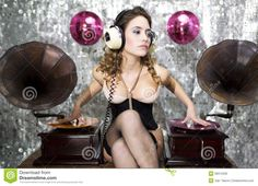 Beautiful sexy disco dj with gramophones. Perfect for stylish club ...