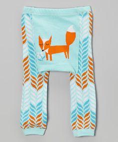 Blue & Orange Fox Leggings - Infant