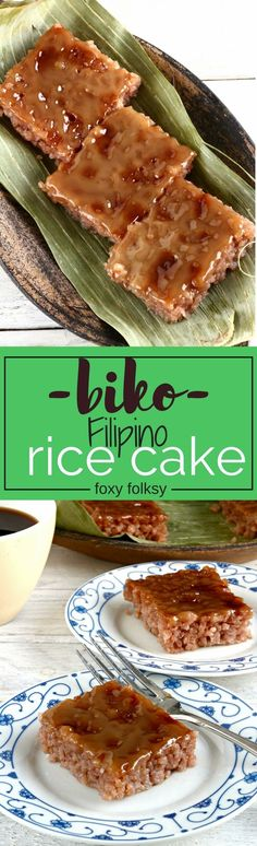 Biko, a rice cake, is a native Filipino delicacy where glutinous rice is cooked with coconut milk and brown sugar then topped with caramelized coconut milk. | www.foxyfolksy.com