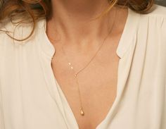Simple, Stylish Y-Necklace. A minimal pendant drop hangs from a delicate Y-shaped chain. Dainty 14k Gold Fill chain, Rose Gold Fill or Sterling