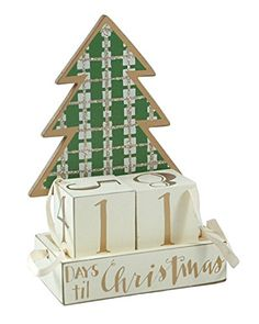 Christmas Countdown Plaid Tree Advent Calendar Wooden Block Set -- This is an Amazon Affiliate link. For more information, visit image link.