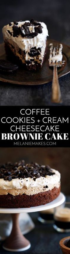 This Coffee Cookies and Cream Cheesecake Brownie Cake is like enjoying five of your favorite desserts all at once. A brownie base is topped with a mocha . Mini Desserts, Brownie Desserts, Brownie Cake, Brownie Recipes, Cheesecake Recipes, Easy Desserts, Delicious Desserts, Dessert Recipes, Cookies And Cream Cheesecake