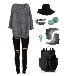 Witchy goth outfit combining black skinny jeans and chunky gray sweater with jade plugs, a crystal necklace, gray leather boots, and tentacle ring. Subtle punk