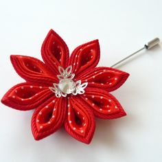 Kanzashi  fabric flower brooch . Red kanzashi flower от JuLVa