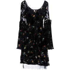Etro Short Dress ($1,150) ❤ liked on Polyvore featuring dresses, black, longsleeve dress, velvet dress, long sleeve day dresses, slip dress and long sleeve mini dress
