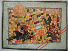 Garden Lady Art Quilt by Jean Sredl 3-D fabric flowers on wonky batik patchwork base - Quilting Daily (Private collection)