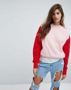 ASOS Boxy Sweatshirt in Colourblock