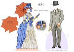 1886 Day Wear FASHIONABLE COUPLE Gertie and Arthur of the 1880s by Margaret Fleming