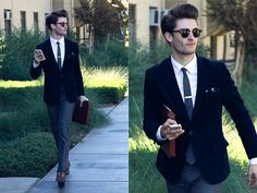 H&M Corduroy, Topman Skinny Trousers, Gold Embroidered Pocket Square, Giorgio Brutini Double Monk Strap Wingtips