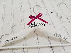 Personalised hangers for you and your bridal party, use them for dresses or add to your personalised lace robe order! Please allow weeks for delivery Wooden Hangers, Bridal, How To Make, Range, Cookers, Bride, The Bride
