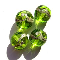 4 Handcrafted Lampwork Beads bright transparent green wave pattern sis SRA