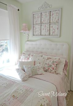 ~Sweet Melanie~ Love this room. Lots of light,  repurposed window above bed and the lighting attached to wall for space saver. Looks very restful
