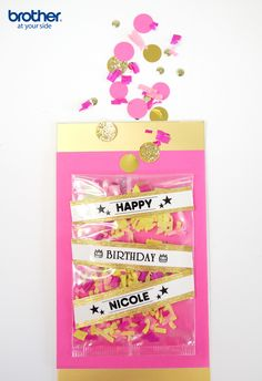 DIY pink and gold confetti birthday card by @birdsparty for #Brother. Just grab your P-touch and #LabelIt