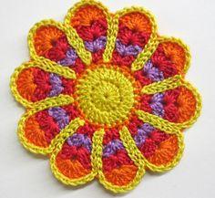 Large crochet cotton flower applique colorful red orange yellow purple