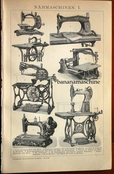 A back-to-back antique plate of sewing machines on one side and stitches on the other. Printed in Germany in 1895. Annie must have sewed on one of these