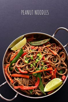 This Peanut Noodles recipe is my favorite vegetarian dish loaded with tons of bold Asian flavors alongside ultra healthy and energy-boosting ingredients. Asian Recipes, Real Food Recipes, Vegetarian Recipes, Cooking Recipes, Healthy Recipes, Vegetarian Dish, Pesco Vegetarian, What's Cooking, Peanut Noodles