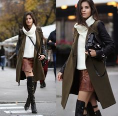 Bcbg Coat, Windsor Turtleneck, H&M Faux Leather Skirt, Reiss Over The Knee Boots, Proenza Schouler Ps11