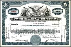 Own an original vintage stock certificate like this Pan American World Airways document issued during WWII and bearing the signature of their president, Juan Trippe.