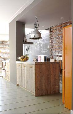orange refrigerator.  smeg.  big chill.  northstar.  mint or pale yellow too.